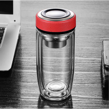 GUIBOBO Borosilicate Glass Tea Bottle With Infuser For Business Office Double Layer Coffee Cup NO0205231151 office business glass water bottle portable double wall glass tea bottle with tea infuser creative transparent glass gift bottle