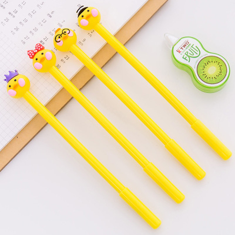 1pcs Small Yellow Duck Gel Pen0.5mm Cute Pens Novelty Stationery Kawaii Pen Student Cute Writing Pens Kawaii School Supplies