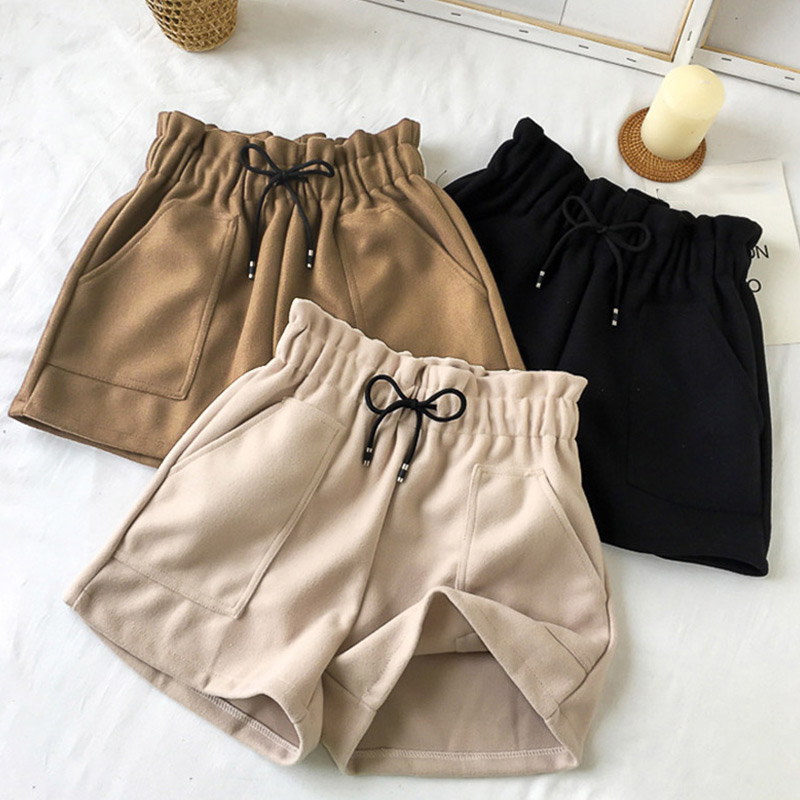 Winter Warm High Waist Pockets Women's Shorts Elastic Waist Straight Booty Short Female Solid Casual Loose Thick Feminine Shorts