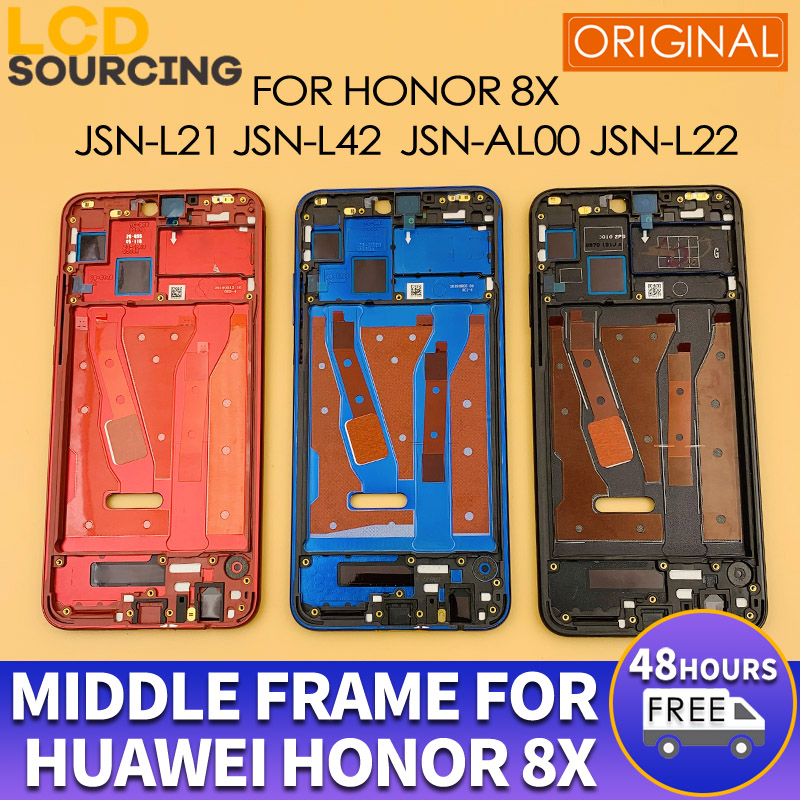 Original Middle Frame For Huawei Honor 8x Front Frame JSN-L21 L42 AL00 L22 Middle Frame Bezel Housing Replace With Side Keys