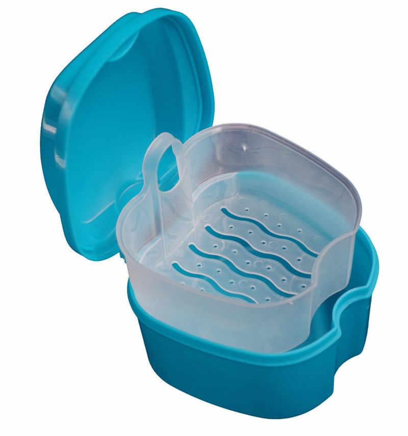 Качество Протез для ванной Box Дело зубные накладные коробка для хранения зубов с подвесная сетка контейнер с синими искусственными набор в форме зубов держатель # Ju