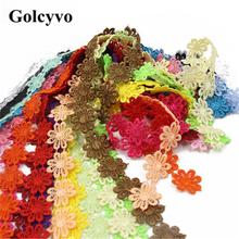 1Meter Colorful Lace Hollow Flower Trims Edge Colthing Skirt DIY Crafts Charms 2.5cm Width