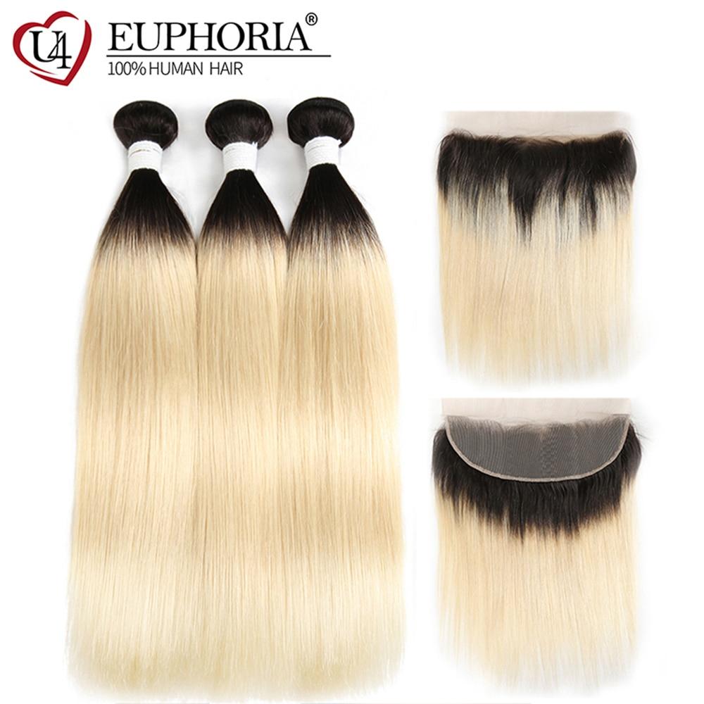 1B 613 Bundles With Frontal Euphoria Brazilian Straight Remy Human Hair 3 Bundles With Platinum Blonde