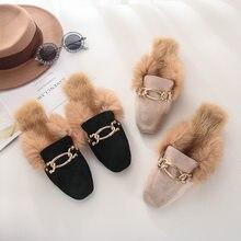 Slides de pele muller sapatos 2020 novo ao ar livre casual pele de coelho chinelos femininos preguiçoso sapatos plana metade chinelos sapatos femininos er13