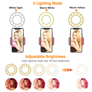 Image 2 - קליפ על Led Selfie טבעת אור עם טלפון סלולרי מחזיק גמיש Dimmable איפור מנורת שולחן שולחן מנורת תמונה סטודיו עבור לחיות זרם
