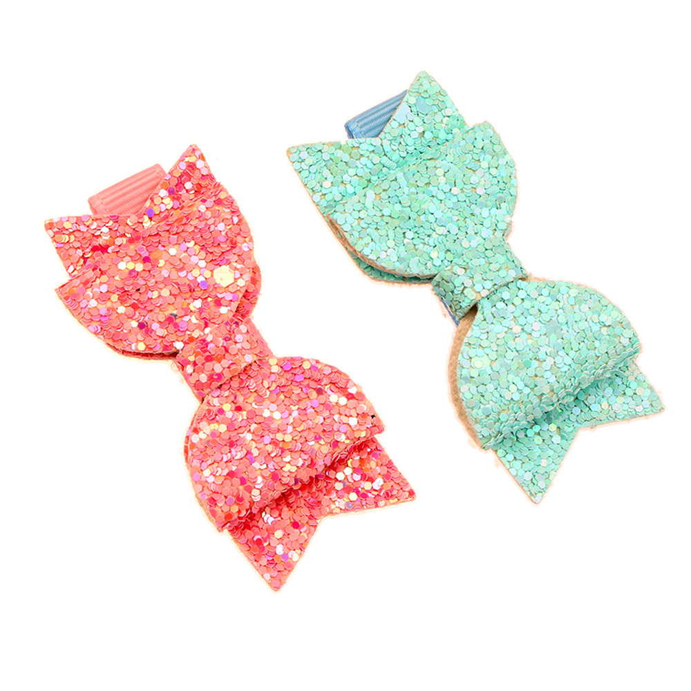 2pcs//set Mini Lovely Little Girls Hair Bows Clips Sequins Double Layer Hairpins