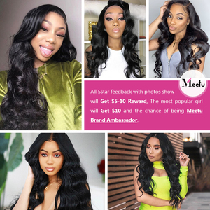 Image 5 - Meetu Indian Body Wave Bundles with  Frontal Pre Plucked Hair Bundles with Closure 13x4 Frontal with Bundles Non Remy Human Hair