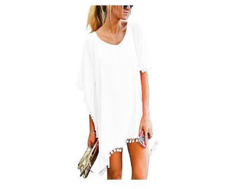 2054 AliExpress Europe And America New Style Solid Color Tassels Small White Ball Chiffon Beach Dress Blouse N2054