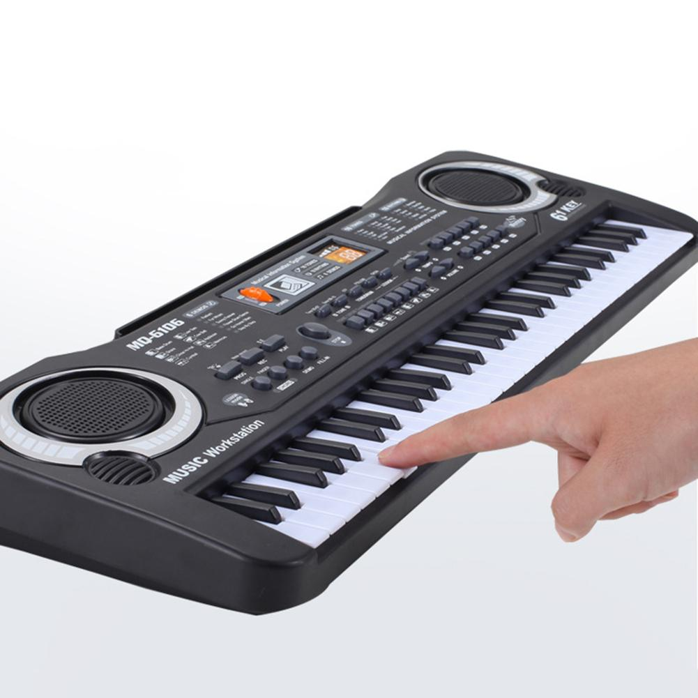 61 Keys Portable Electronic Organ Digital Piano Keyboard Piano for Kids Toys with Microphone Stave Cord Develop Child's Talents
