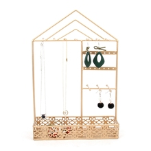 Wrought Iron Jewelry Display Rack Nordic Metal Dressing Desktop Multi-Function Hanging Necklace Earrings Storage Rack
