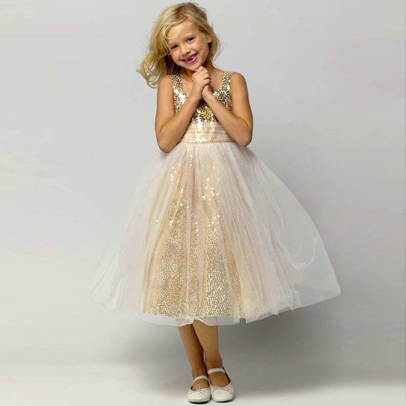 2015 jolie robe de bal Pageant pour petites filles bal fleur fille or Sequin filles robe enfants à la main Tutu fleur fille robes