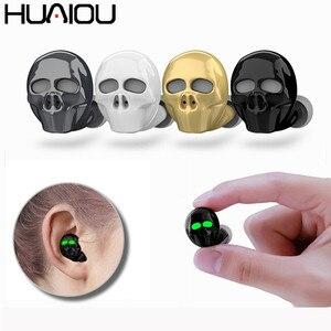 Image 1 - HUAIOU Skull Bone Bluetooth Earphone with Microphone Noise Cancelling Hi Fi Handsfree Bass Stereo Mini Micro Earbud Earpiece