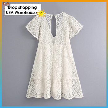 OUSHANG Beach Holiday sweet Elegant White  Playsuit floral  Embroidery Hollow Out Ruffles V Neck Backless Playsuit 2020 Summer v neck overlay dot print design playsuit in white