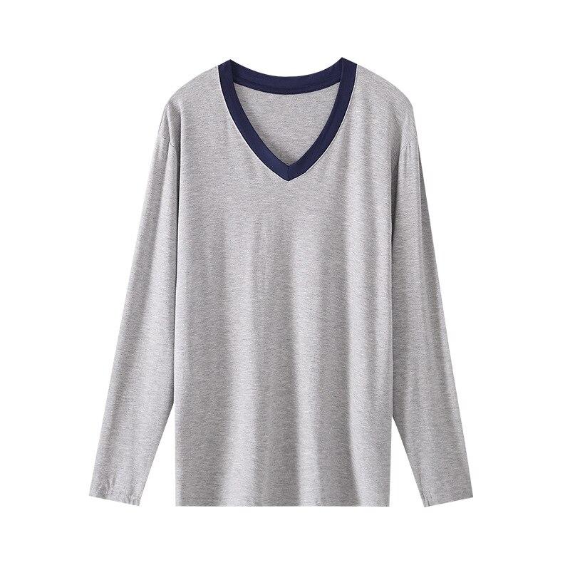 Plus Size Men Sleep Tops Spring Autumn Male Long Sleeves Modal Thin Soft Sleepwear Shirt Leisure Loose Comfortable Homewear