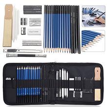 Kit de croquis en peinture avec effaceurs à crayon, fournitures de papeterie pour artistes débutants et étudiants, 29 32 pièces