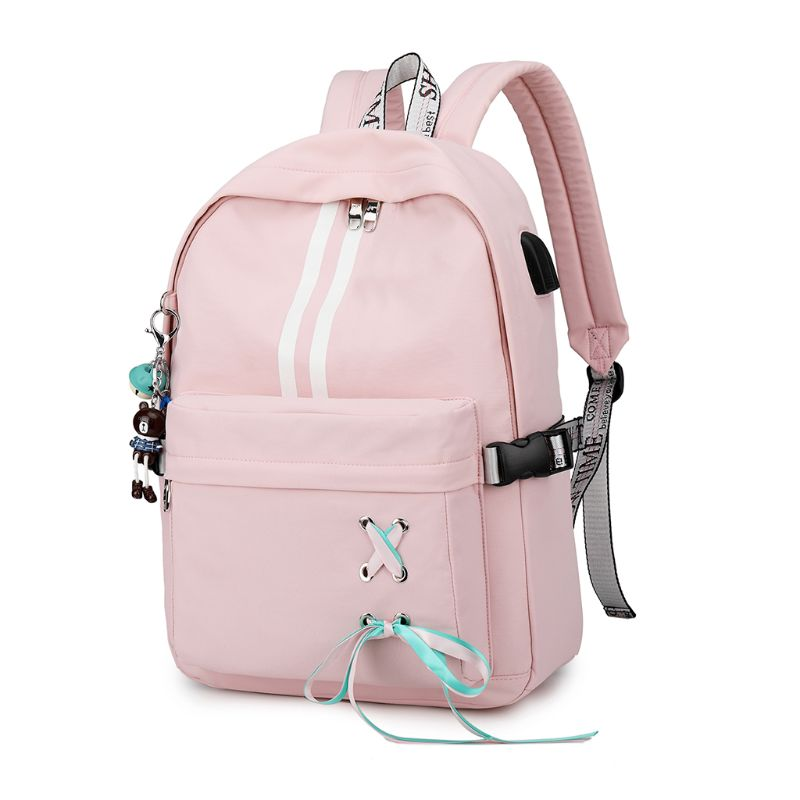 Fashion Anti Theft Reflective Women Backpack USB Charge Earphone Hole School Bags Girls Travel Laptop Bagpack Bookbags A69C