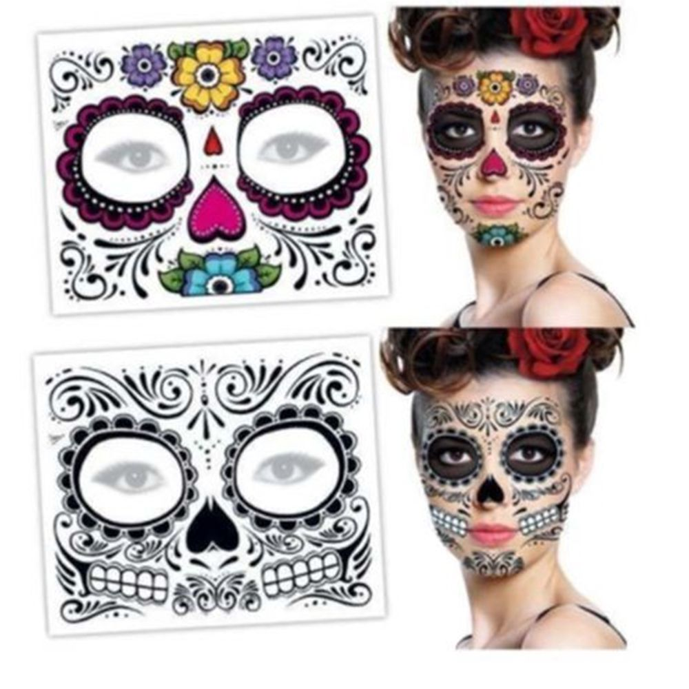 2PCS New Halloween Temporary Tattoo Sticker Day Of The Dead Face Mask Sugar Skull Tattoo Sticker Stage Props Art Makeup