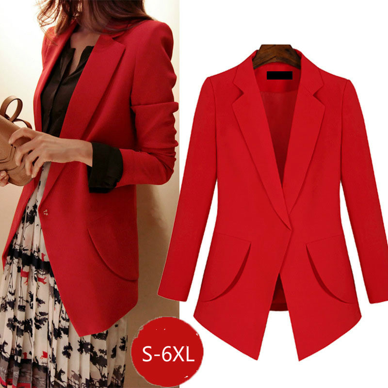 Large size ladies blazer Autumn temperament long sleeve red blazer female 2019 elegant office suit girl Red black S 6XL in Blazers from Women 39 s Clothing