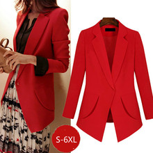 Large size ladies blazer Autumn temperament long sleeve red female 2019 elegant office suit girl Red black S-6XL