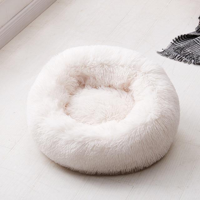 Fluffy Pluche Donut hondenbed kleur wit 1