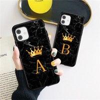 Soild-funda de silicona blanda a prueba de golpes para iPhone, carcasa con letras de corona dorada, mármol negro, para iPhone X, XR, XS, Max, SE2020, 7, 8 Plus, 6, 6s, 5s