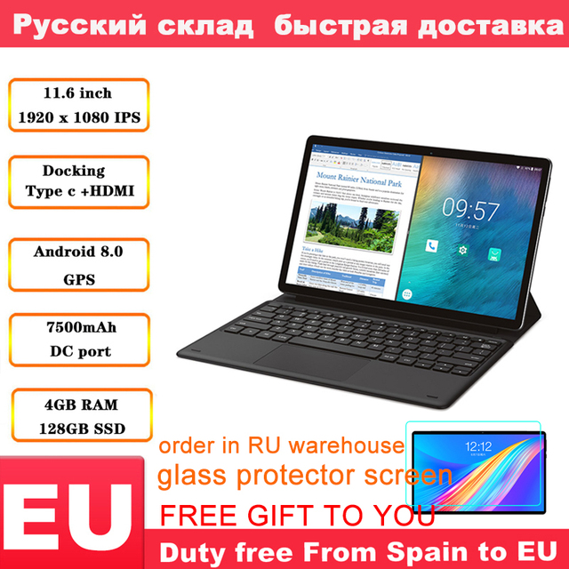 Teclast M16 планшет 11,6 дюймов 4G Phablet MT6797 ( X27 ) Android 8,0 1920*1080 2,6 GHz Decore CPU 4GB 128GB 8.0MP + 2.0MP двойная камера
