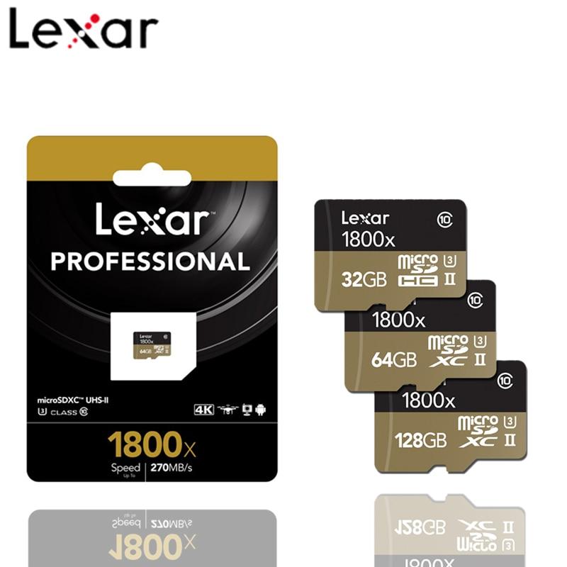 Lexar 1800X Memory Card 128GB 64GB 32GB Professional Micro SD Card Class10 UHS-II U3 SDHC SDXC 270MB/S TF Card Flash Card Cartao