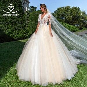 Image 3 - Vintage perles Appliques robe de mariée swanjupe F104 col en v à manches longues a ligne dentelle princesse robe de mariée Vestido de novia