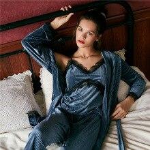 JULYS SONG Samt Pyjamas Sexy Spitze Frauen Herbst Winter Warme Pyjamas Set Frauen Nachtwäsche Sleeveless Strap Nachtwäsche Robe Set
