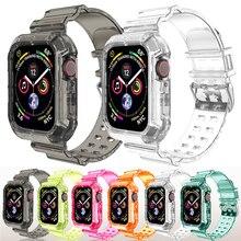 Funda y correa para Apple Watch, banda transparente de silicona de 44mm y 40mm para iWatch de 42mm y 38mm para apple watch series 6 se 5 4 3