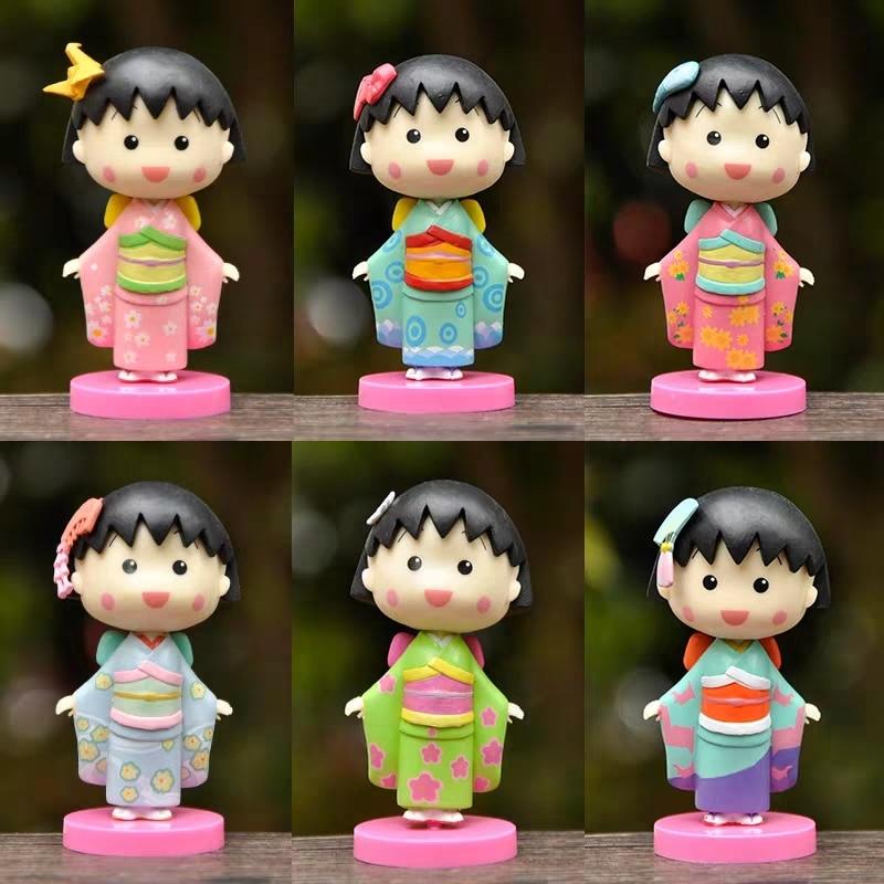 Chibi Maruko-chan Japan Comics Figure Toy Cute Miniature Action Figures Cartoon Anime PVC Model Toys Figurine  Kids Gift Toys