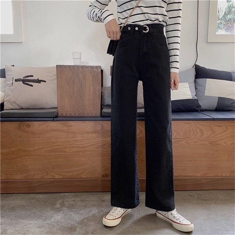 Alien Kitty Femme Straight Black 2019 New Chic Students Fashion High Waist Slender Jeans Loose Casual Light Plus Denim Pants