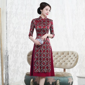 Image 1 - Quinceanera Promotion Knee length High Autumn 2020 New Chinese Knot Silk Cheongsam Fashion Improved Retro Aodai Dress Woman
