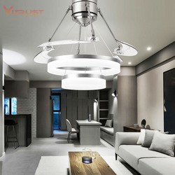 Kreatywny proste lampy sufitowe fanem niewidoczne wentylator światła salon jadalnia sypialnia domu żyrandol z wentylatorem w Wentylatory sufitowe od Lampy i oświetlenie na