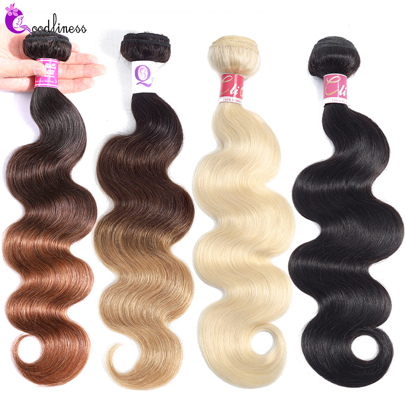 Goodliness 1/3/4pcs 613 Body Wave Bundles Brazilian Hair Weave Bundles Remy Three Tone 1b/4/27 1b/4/30 Ombre Human Hair Bundles