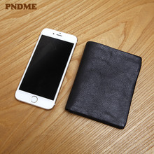 цена на PNDME simple natural real cowhide black men's small wallet vintage handmade genuine leather thin ID card holder women's purse