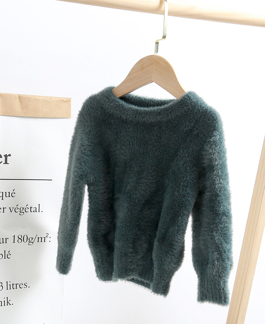 lioraitiin 0-5Years Toddler Kid´s Girl Solid Color Sweater Long Sleeve  Artificial Mink Hair Sweater for Autumn Early Winter 6