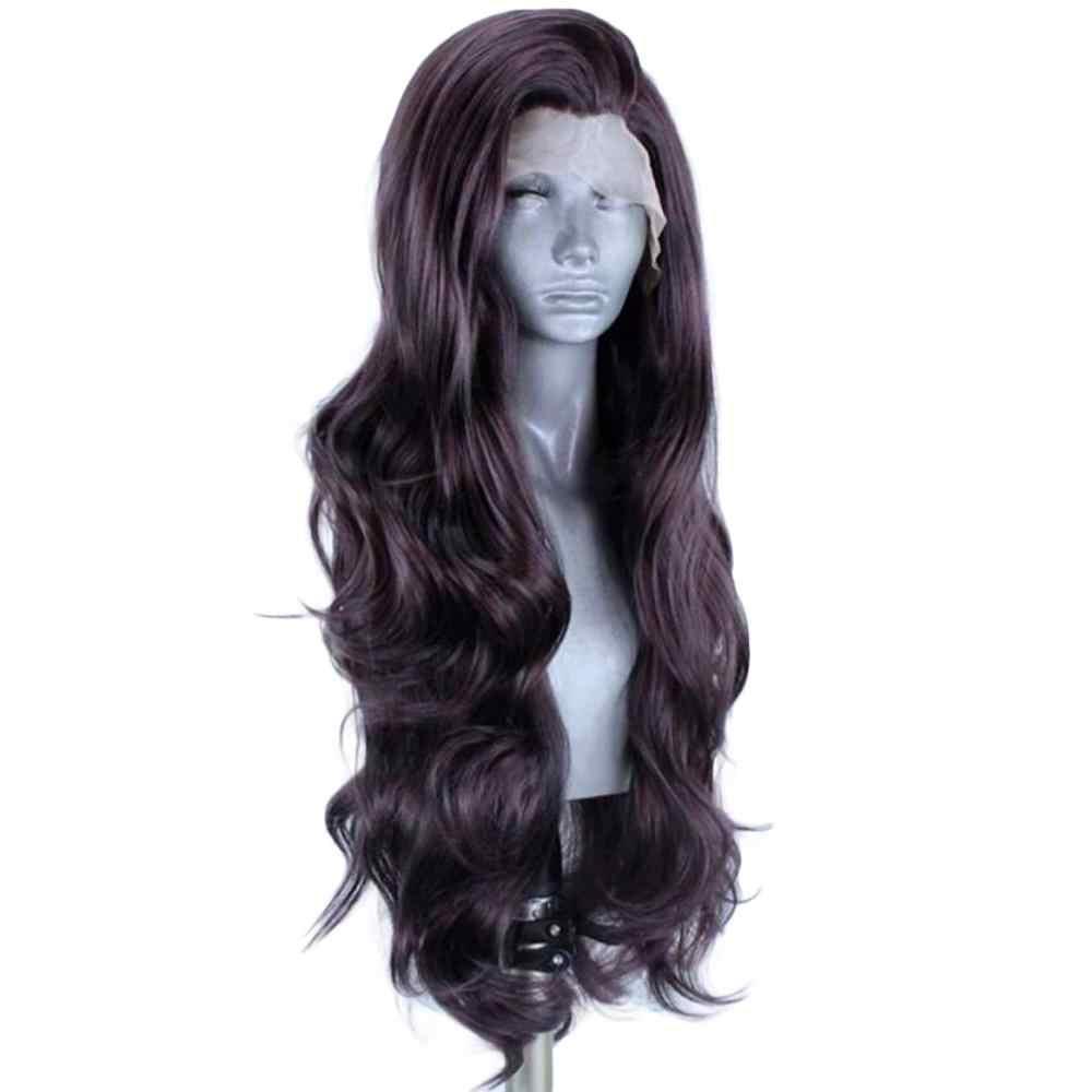 ANOGOL #4 натуральные черные синтетические кружевные передние парики с детскими волосами для женщин, длинные Водонепроницаемые волнистые термостойкие парики для волос Futura