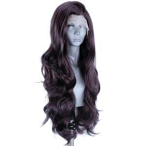 Image 2 - Perucas sintéticas pretas naturais da parte dianteira do laço de anogol #4 com o cabelo do bebê para as perucas longas do cabelo de futura da onda da água resistente ao calor
