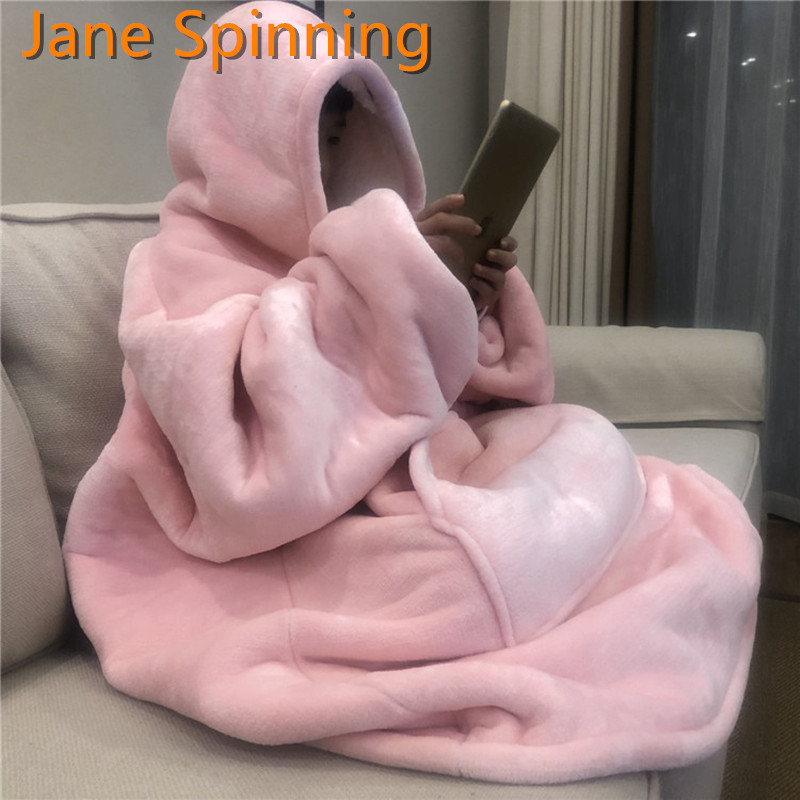 Thick TV Blanket Solid Warm Hooded Blanket Adults And Children Fleece Blankets for Beds Travel Pajamas
