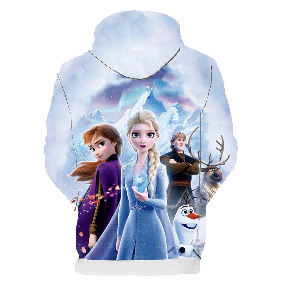New Spring Autumn Elsa Anna Kids Baby Boys Girls Toddlers 3D Printing Hoodies Cartoon Tracksuit Children Clothing Sweatshirts 2