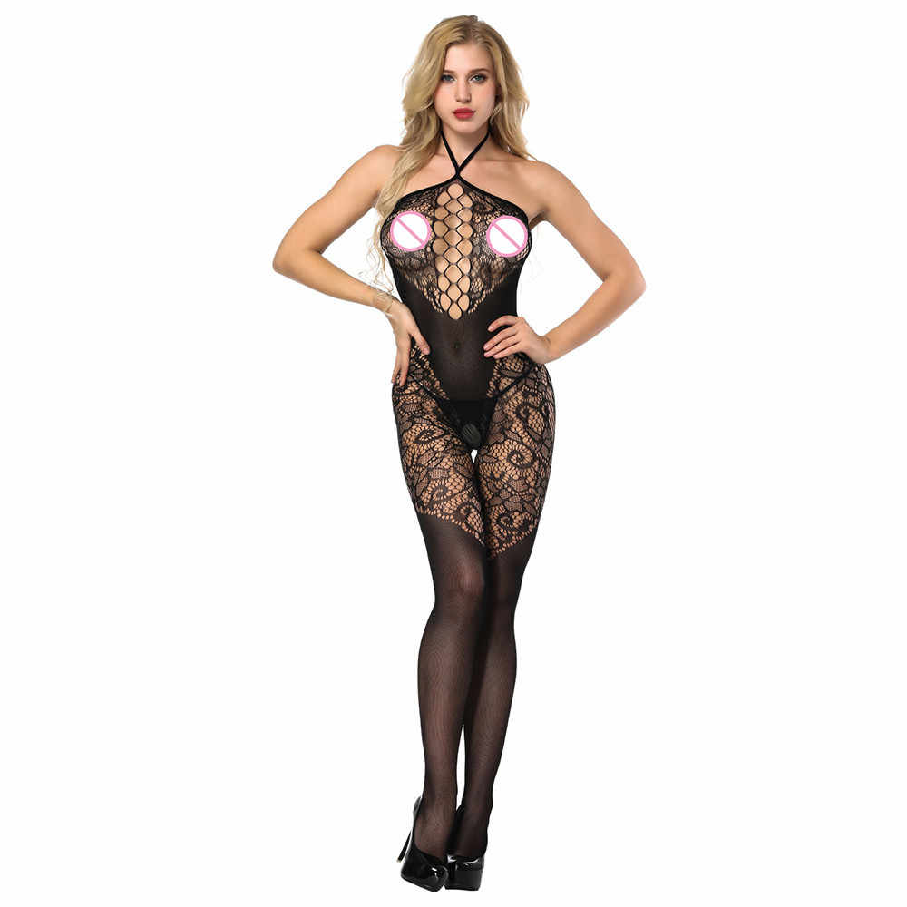 Sexy Lingerie Women Deep V Halter Lingerie Open Crotch Bodystockings Perspective Fishnet Bodysuit Babydoll Crotchless Underwear