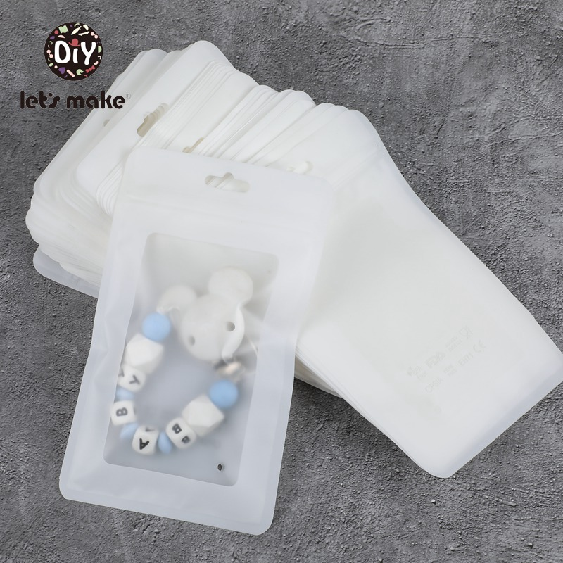 Let's Make Plastic Bags White 100pcs 19.5x11.5cm Display Bags BPA Free Baby Silicone Beads Package Jewelry Pendant Bags Teether