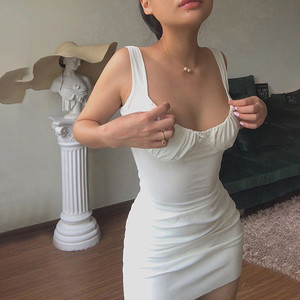 Białe na ramiączkach sukienka letnia na co dzień szaty Y2k nastolatki dziewczęce sukienka bandażowa typu Bodycon kwadratowy kołnierzyk seksowna sukienka Vestido