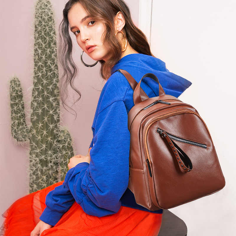 Vintage Fashion Leather Backpacks for Teenage Girl Multifuction Sac a dos Brown Women Casual Bagpack Top Quality College Bookbag