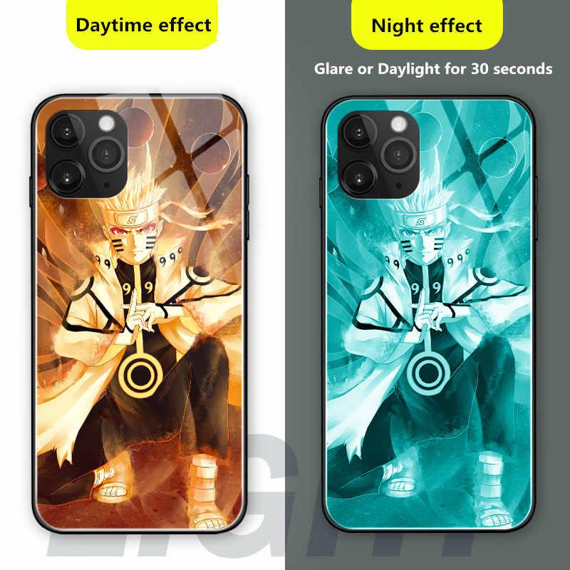 Аниме Наруто Саске Хатаке Какаши чехол для телефона для iPhone 11 Pro Max XR XS Max 10 8 7 6 6s Plus 7Plus 8Plus светящаяся стеклянная крышка