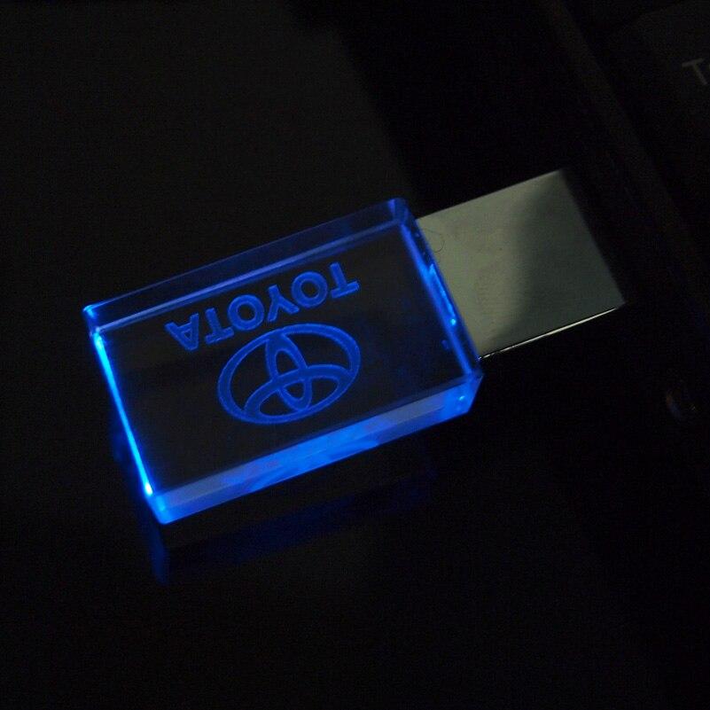 O cristal + metal conduziu a movimentação 128 da pena do usb da movimentação 2.0 da memória da vara dos melhores presentes do logotipo do carro de toyota 4gb 8gb 16gb 32gb