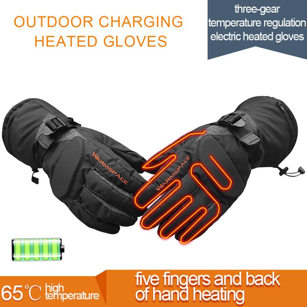 Зимние уличные перчатки с электрическим подогревом, Велоспорт, кемпинг, катание на лыжах, зарядка, Отопление, утолщение, теплые перчатки, ре...