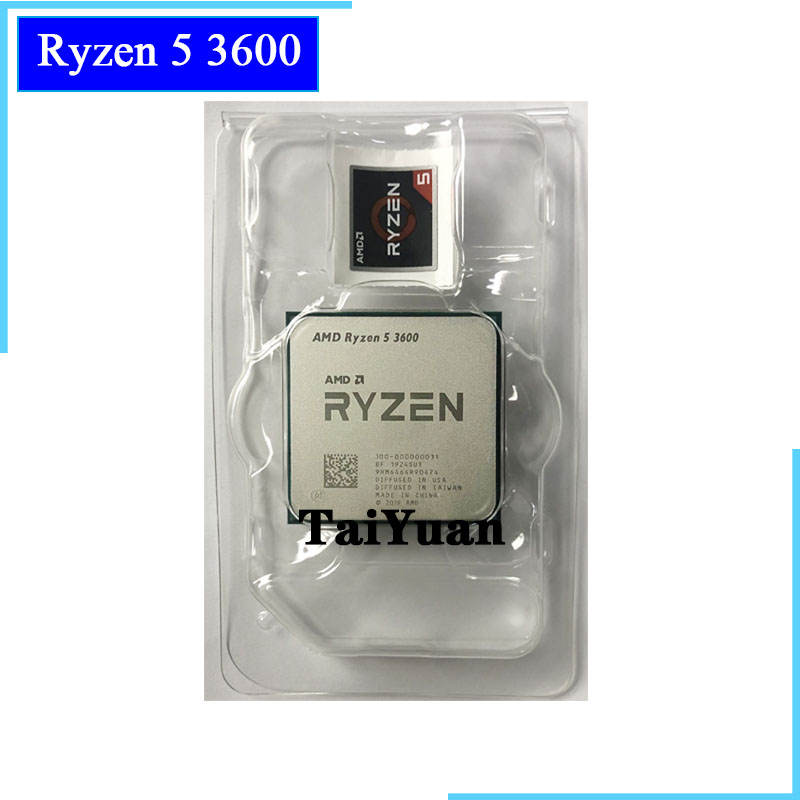 Процессор AMD Ryzen 5 3600 R5 3600 3,6 ГГц, шестиядерный процессор с двенадцатью потоками, 7 нм, 65 Вт, L3 = 32 м, сокет 100-000000031, AM4, новый, но без вентилятора