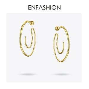 Image 3 - Enfashionビッグサークルフープイヤリング女性のアクセサリーゴールドカラー声明ボール曲線フープイヤリングファッションジュエリーE191122